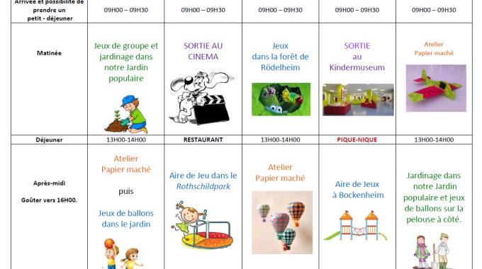 Nouveau programme des vacances scolaires du 24.04 au 06.05.2016!!!!